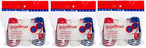Goodtimes 2 ounce mini party cups (3 packs of 24 cups=72 2 ounce cups) perfect size for liquor shots, Jello shots, 4th of July Parties, serving condiments (combo red/white/blue)