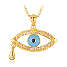 Evil Eye Pendant Lucky Jewelry Gift For Women 18K Gold Plated Rhinestone Tear Eye Design Pendants Necklace