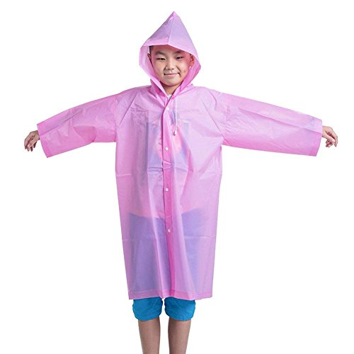 Segorts Kids' Emergency Portable Rain Ponchos(2 Pack) - Thicker EVA Rainwear with Drawstring Hood & Sleeve Ends for Travel Camping (Pink) by Segorts (Image #6)
