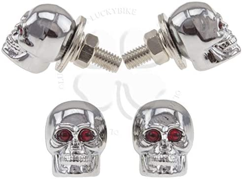 Black-Red Wilk Metal Skull Logo Car License Plate Frame Bolts Screws Universal Car Accessories