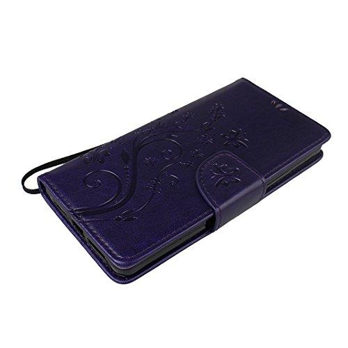 Aquaris E5 Funda Libro de Cuero Con Tapa, Asnlove Flip Case Puro Libro de Cuero Impresión Con TPU Silicona Carcasa Interna Suave,Soporte Plegable,Ranuras para Tarjetas y Billetera,Cierre Magnético Wal purple
