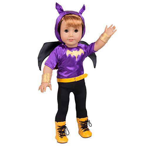 Dress Along Dolly Batgirl Inspired Doll Outfit - 6pcs Superhero Halloween Costume for American Girl and 18 Inches Doll]()
