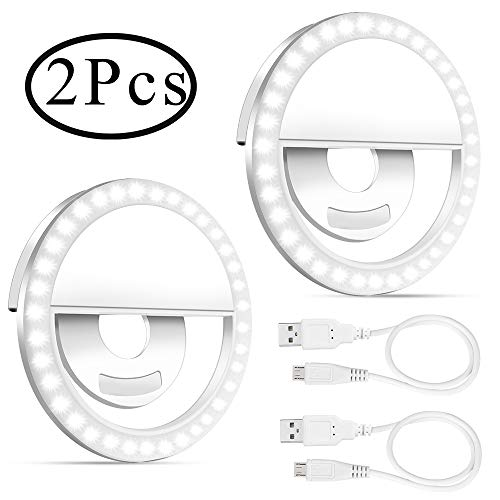 Outee 2 Pack Selfie Light Ring Led Circle Clip On Cell Phone Laptop Camera LED Light 3-Level 36 Led Adjustable Brightness Video Lights Rechargeable Compatible for Phone Photography (White)