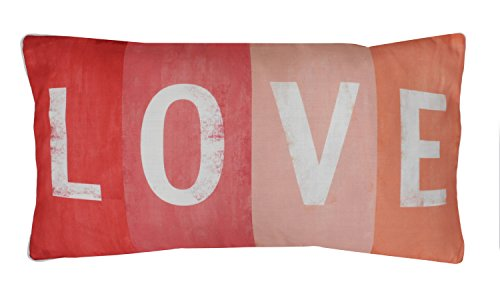 (Thro by Marlo Lorenz Love Printed Sign Faux Linen Pillow Coral)