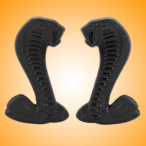 Two-tone Black Mustang Cobra Snake Fender Emblems - Left / Right (Cobra Fender Emblems)
