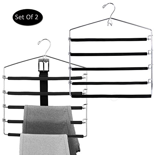 Foam Padded Pants, Slacks, Trousers Hangers Space Saver, 4 Tier Swing Arms With Belt Hook