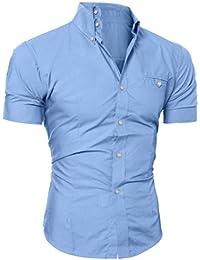 Mens Blouse, Men's Casual Button O Neck Pullover Short Sleeve T-Shirt Top Blouse