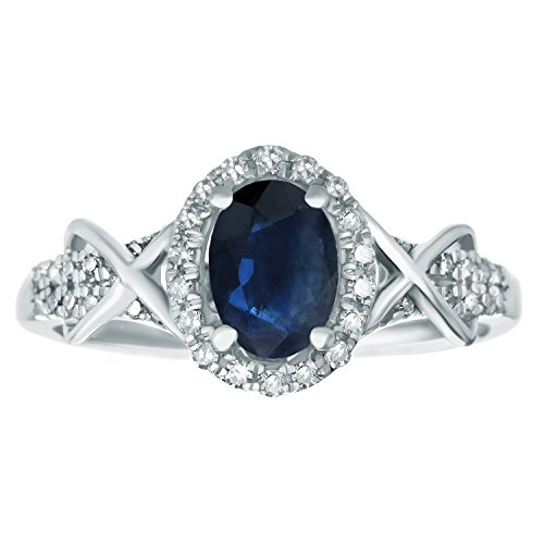 1.00 CT Blue Sapphire and .15 cttw Diamond Oval Ring Sterling Silver Size 8