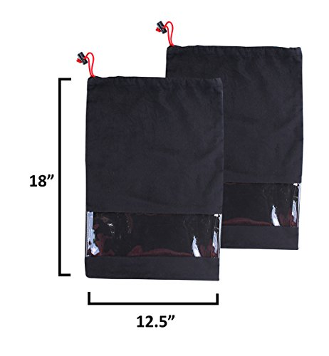 Earthwise Shoe Storage Bags Travel 100% Cotton with Drawstring & Clear Window Made in the USA (Set of 2) … by Earthwise (Image #3)