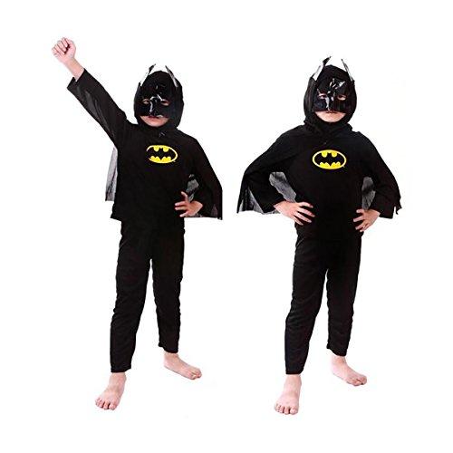 WELLIN Super Hero Children's Costumes Suit Full Set , Mask Shirts Pants (4, (Funny Batman Costume)