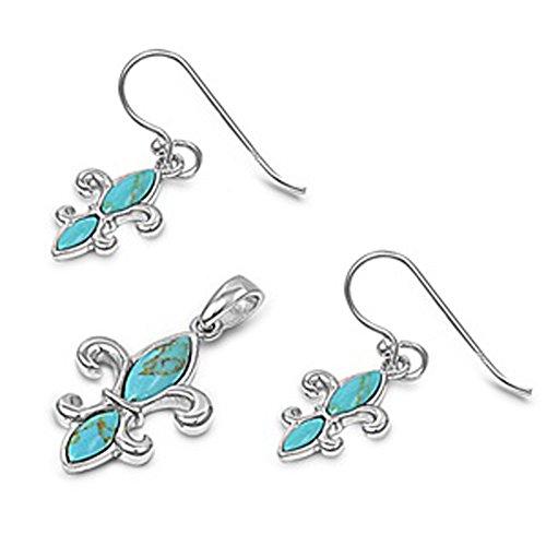 High Polish Fleur De Lis Shiny Flower .925 Sterling Silver Blossom Bloom Earrings Pendant Set