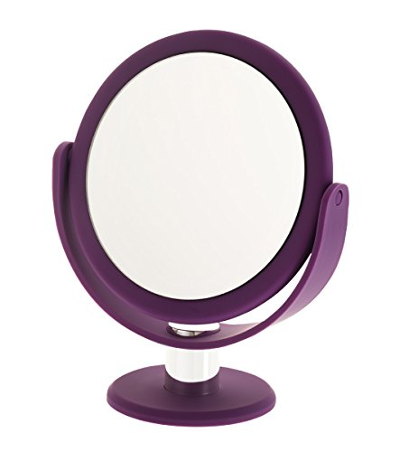 Danielle Enterprises Soft Touch 10X Magnification Round Vanity Mirror, Purple