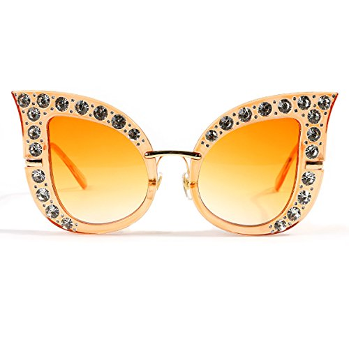 Orange Rhinestone (Glamaker Womens Fashion Oversized Cat Eye Mirrors Rhinestones Twin-Beams Sunglasses Shades Orange One Size)