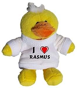 Pollo de peluche (llavero) con Amo Rasmus en la camiseta (nombre de pila/apellido/apodo)