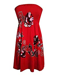 RIDDLED WITH STYLE Womens Floral Glitter Swing Dress Ladies Strapless Bandeau Boobtube Sharing Top