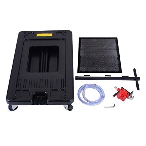Goplus Portable Oil Drain Pan With Pump 17 Gallon Low Profile Oil Change Pan for Truck Car with 8' Hose, Black by Goplus (Image #4)