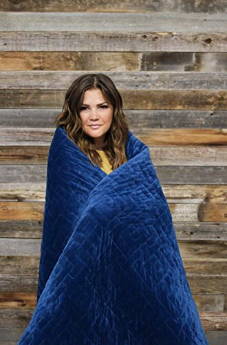 Cheap #1 Weighted Blanket: 2-in-1 Warming & Cooling Sleep Blanket. ONLY Perimeter Zipper Connecting Warm Duvet Cover to Cool Weighted Layer. USA Owned & Operated (Sailor Blue Grand King - 25lbs - 80