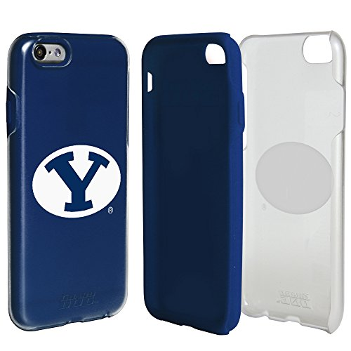 BYU Cougars Clear Hybrid Case for iPhone 6 / 6s with Dark Blue Insert and Guard Glass Screen ()