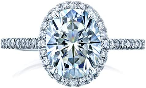 Kobelli Forever One Oval Moissanite Halo Engagement Ring 2 1/4 CTW 14k White Gold (DEF/VS, GH/I)