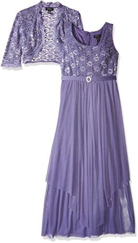 R&M Richards Women's 2 PCE Lace Georgette Jacket Dress, Lavender, 8