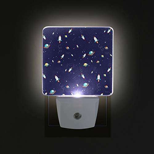 (WIHVE Plug in LED Night Light, Cosmic Planets Rocket Spaceship Outer Galaxy 2 Pack, Desk Lamp, Dusk to Dawn Sensor, Great for Bedroom Bathroom Hallway Stairways)