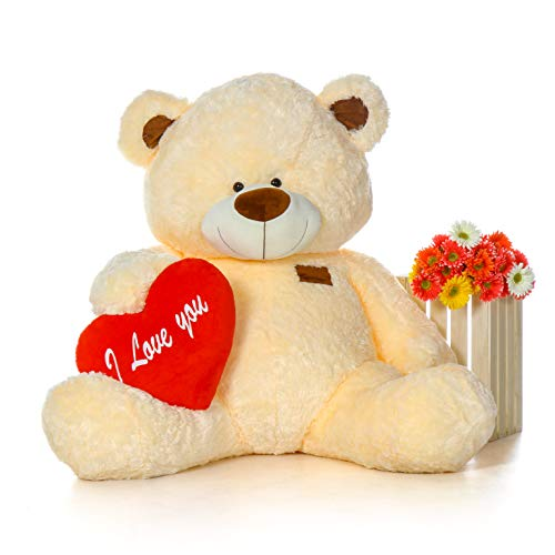 Giant Teddy Original Brand - Biggest Collection of Super Soft Stuffed Teddy Bears (Pillow Heart Included) (Vanilla Cream, Life-Size)