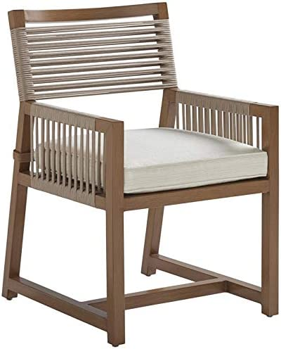 Amazon Com Tommy Bahama St Tropez 20 H Patio Arm Dining Chair In Natural Teak Plain Cushion Kitchen Dining