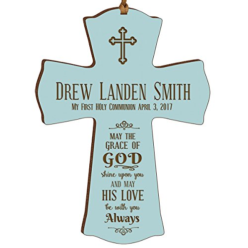 Personalized Boys Wall Cross (Personalized Baptism 1st Holy Communion Christening Gifts Custom Wall Cross May the grace of GOD shine upon you and may HIS LOVE be with you Always wood cross by DaySpring)