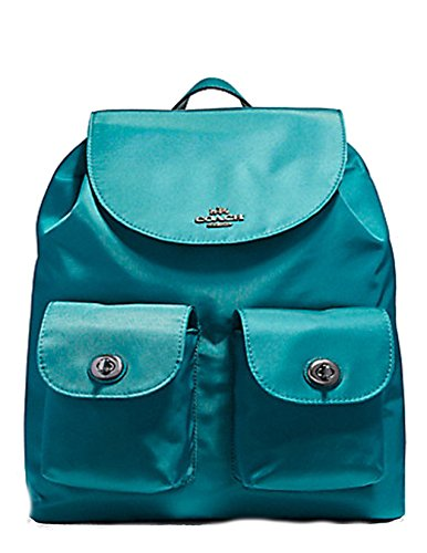 COACH NYLON DARK TEAL BACKPACK BOOKBAG BAG LEATHER STRAP by Coach