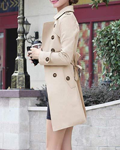 Lunga Cintura Breasted Fit Giacca Bavero Slim Donna Cappotto Fashion Eleganti Classiche Manica Double Trench Autunno Giaccone Inclusa Primaverile Vintage Kaki Outerwear UEKCw1q6