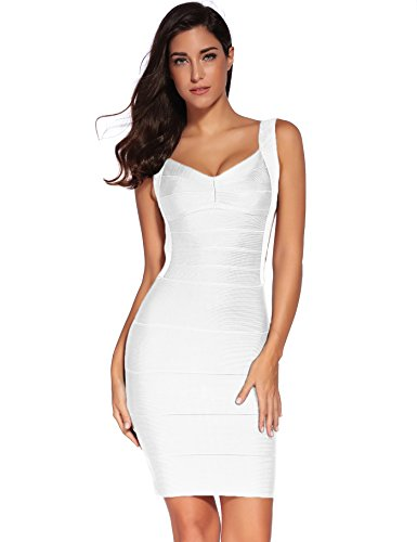 Meilun Women's Backless Low-Cut Sling Bandage Cocktail Dress (Medium, White)