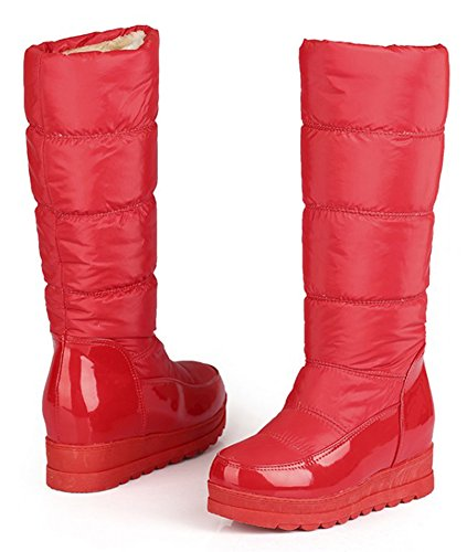 Aisun Womens Comfy Warm Thick Mid Calf Snow Boots Red
