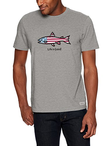 Life is Good Mens crusher tee American Fish, Heather Gray, Medium (Mens Heather Gray Life)