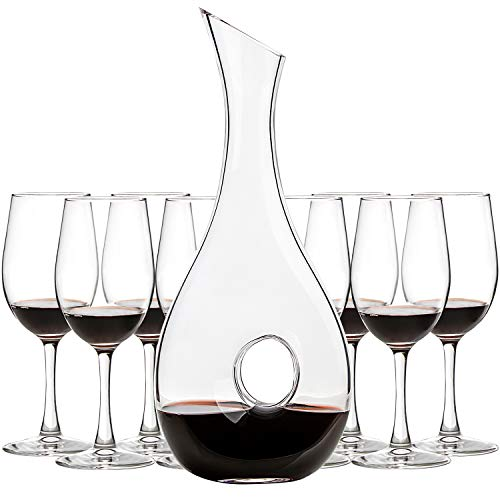 UMI UMIZILI 1.0 Liters Lead-Free Glass Wine Decanter, Wine Carafe with 8 Pack 12 Oz Classic Wine Glasses