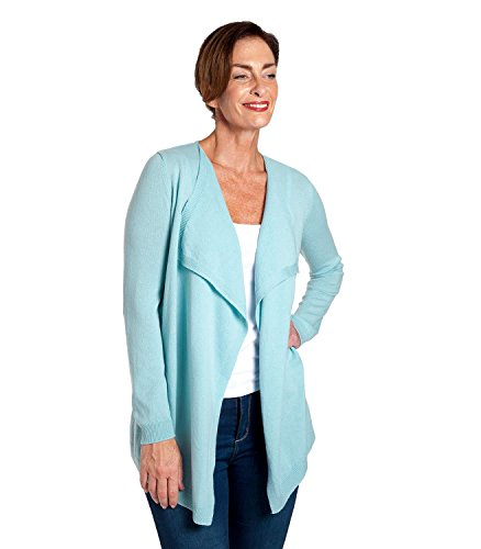 - WoolOvers Womens Cashmere and Merino Waterfall Knitted Cardigan Aqua, L