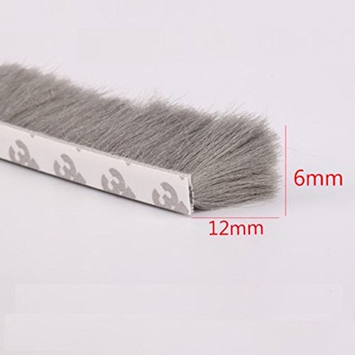 (H-Density Felt Draught Excluder Wool Pile Weather Strip Adhesive Brush for Sliding Sash Window Door Seals 6x12mm 1/4-inch x 1/2-inch 10MTS 32.8-Feet Gray (6x12mm, Gray))
