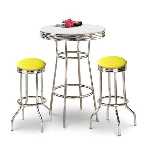 Chrome Bar Table & 2 Chrome Yellow Vinyl Seat Barstools