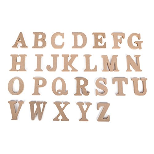 Freestanding 26 A-Z 3D Natural Wooden Letters Alphabet Ornaments Wood Crafts Letters Numbers DIY Decor for Home, Nursery, Shop, Business Signs, Name, Festival, Wedding, Brithday Party Decoration by DODOING