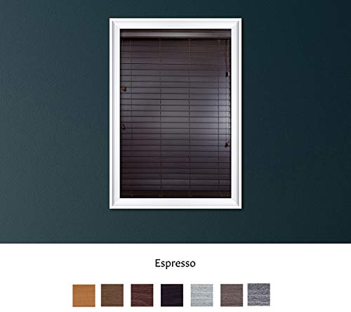 Luxr Blinds Custom Made Premium Faux Wood Horizontal Blinds W/Easy Inside Mount & Outside Mount Wood Blind – Size: 27X50 Inch & Wooden Color: Espresso