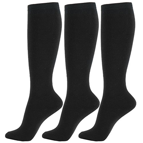 Sale Knee High Socks (WOWFOOT Knee High Socks Soft Cotton Colorful Pattern Design For Women Summer or Winter (H-Solid Black - 3pair))