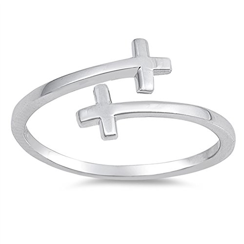 Criss Cross Christian Open Flexible Ring New 925 Sterling Silver Band Size 7 Open Christian Cross