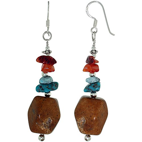 Sterling Silver Dangle Earrings Natural Yellow Onyx, Carnelian,Turquoise Stone, 2 7/16 inch long ()