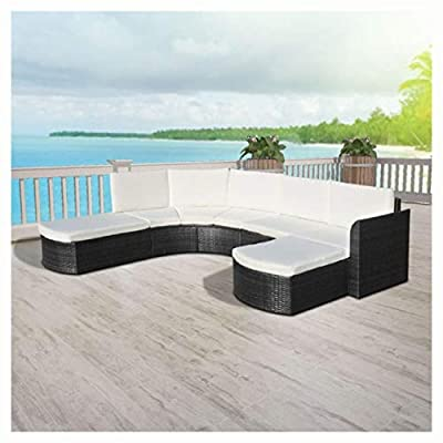 HEATAPPLY Outdoor Furniture Set, 4 Piece Garden Lounge Set with Cushions Poly Rattan Black