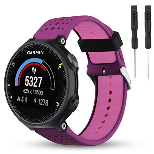 Wizvv Compatible Bands Replacement for Garmin Forerunner 235 220 230 620 630 735, Soft Comfortable Smooth Silicone Wristband for Women Men (Purple&Pink)