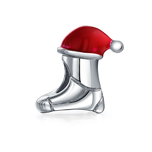 .925 Silver Red Enamel Holiday Christmas Santa Hat Stocking Cap Charm ()