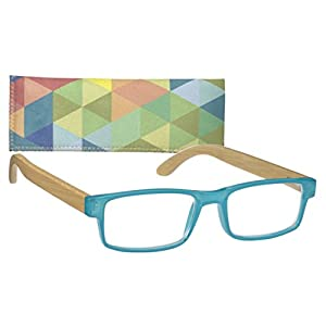 Rectangular Women's Reading Glasses Gel Front Bamboo Temples By ICU (1.25, Teal)