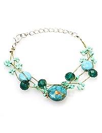Flawless Gemstone With Shell Pendants Stretch Bracelet