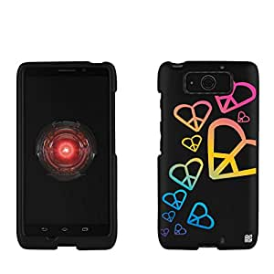 Slim Light Weight 2 piece Snap On Non-Slip Matte Hard Design Rubber Coated Rubberized Case With Premium Protection For Motorola Droid Ultra/Ultra Maxx XT1080M - Rainbow Hearts - Black - Retail Packaging