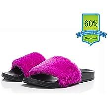 OCICI Women Slide Slipper Faux Fur Soft Flat Slide Slippers Comfort Anti-Skid Sole Indoor Outdoor House Slippers For Girls