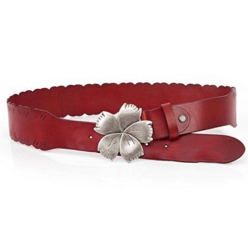Ladies Printed Belt,Personality flowers Oblique ride Decoration Dress Width Belt wild Leisure Belt-D 107cm(42inch) (Leather Jeans Ride)